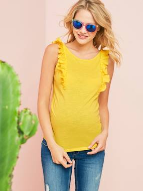 Maternity-T-shirts & Tops-Maternity Top with Frill