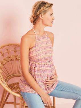 Maternity-Maternity Backless Printed Blouse