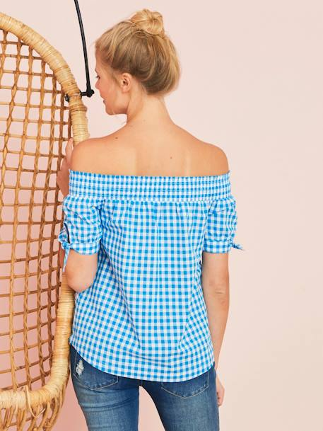 Maternity Off-the-Shoulder Blouse BLUE BRIGHT CHECKS - vertbaudet enfant