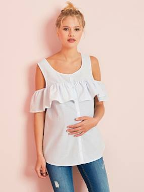 Maternity-Blouses, Shirts & Tunics-Maternity Off-the-Shoulder Striped Blouse
