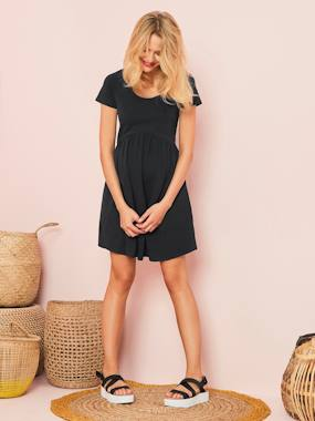 Maternity-Dresses-Knit Maternity Short Sleeve Dress