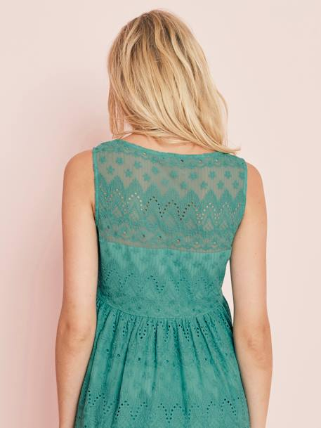 Lace Maternity Dress GREEN MEDIUM SOLID - vertbaudet enfant