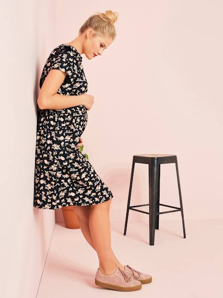 Floral Breastfeeding Dress BLACK DARK ALL OVER PRINTED+RED MEDIUM ALL OVER PRINTED - vertbaudet enfant
