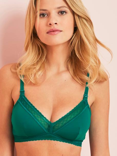 Triangle Shape Maternity & Nursing Bra BLACK DARK SOLID+GREEN LIGHT SOLID+PINK DARK SOLID - vertbaudet enfant