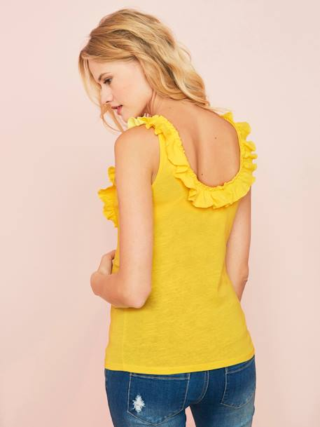 Maternity Top with Frill YELLOW MEDIUM SOLID - vertbaudet enfant