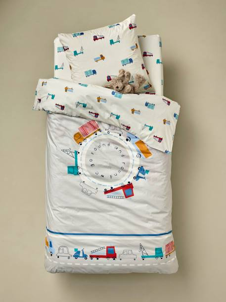 Children's Duvet Cover + Pillowcase Set, Fun Ride Theme BEIGE LIGHT SOLID WITH DESIGN - vertbaudet enfant