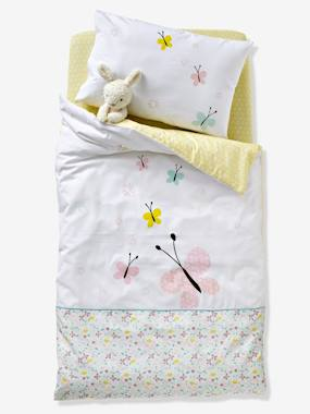 white-Baby Duvet Cover, Butterflies and Flowers Theme