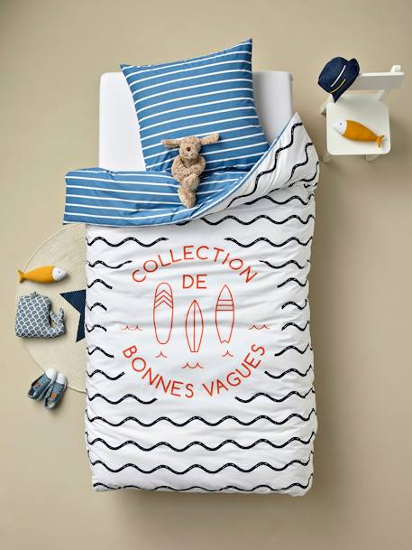 Children's Duvet Cover + Pillowcase Set, Cool Waves Theme BLUE DARK SOLID WITH DESIGN - vertbaudet enfant