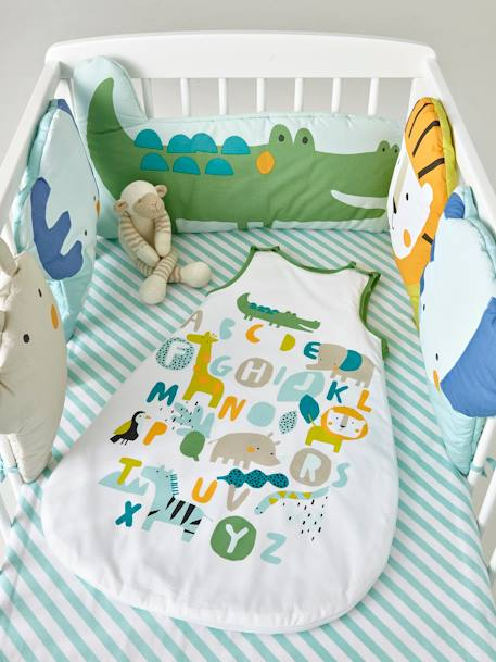 Baby Sleep Bag, Summer Special, BABY SAFARI Theme WHITE LIGHT SOLID WITH DESIGN - vertbaudet enfant