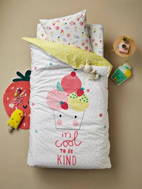 Vertbaudet Collection-Bedding-Children's Reversible Duvet Cover + Pillowcase Set, Candy Theme