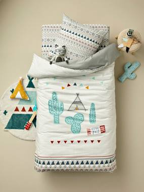 Vertbaudet Sale-Bedding-Children's Reversible Duvet Cover + Pillowcase Set, UTAH PARK Theme
