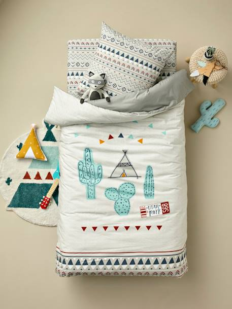 Children's Reversible Duvet Cover + Pillowcase Set, UTAH PARK Theme GREY MEDIUM SOLID WITH DESIGN - vertbaudet enfant