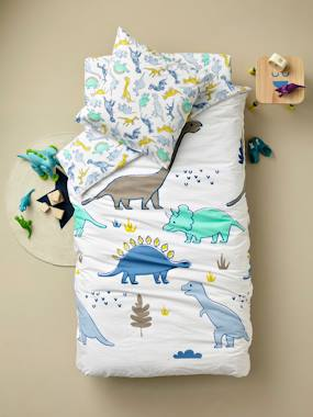 Vertbaudet Collection-Bedding-Children's Duvet Cover + Pillowcase Set, Dinomania Theme