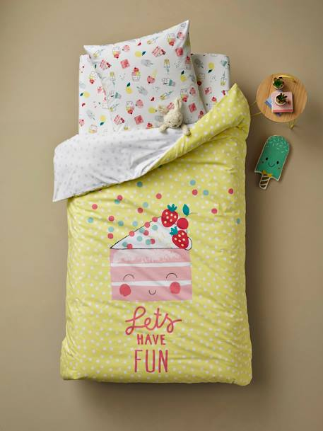 Children's Fitted Sheet, Candy Theme WHITE LIGHT ALL OVER PRINTED - vertbaudet enfant
