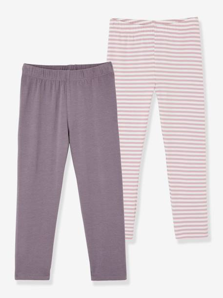 Girls' Pack of 2Calf-length Leggings GREY MEDIUM TWO COLOR/MULTICOL+PINK BRIGHT 2 COLOR/MULTICOL+PINK DARK 2 COLOR/MULTICOL OR+PINK LIGHT 2 COLOR/MULTICOL R - vertbaudet enfant