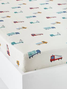 Vertbaudet Sale-Bedding-Children's Fitted Sheet, Fun Ride Theme