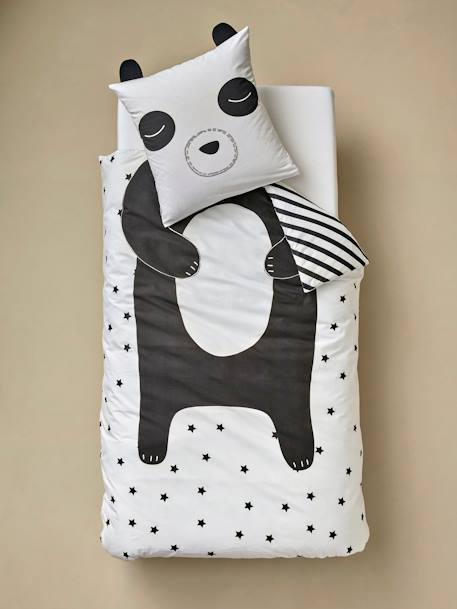 Children's Duvet Cover + Pillowcase Set, My Panda Friend Theme WHITE LIGHT SOLID WITH DESIGN - vertbaudet enfant