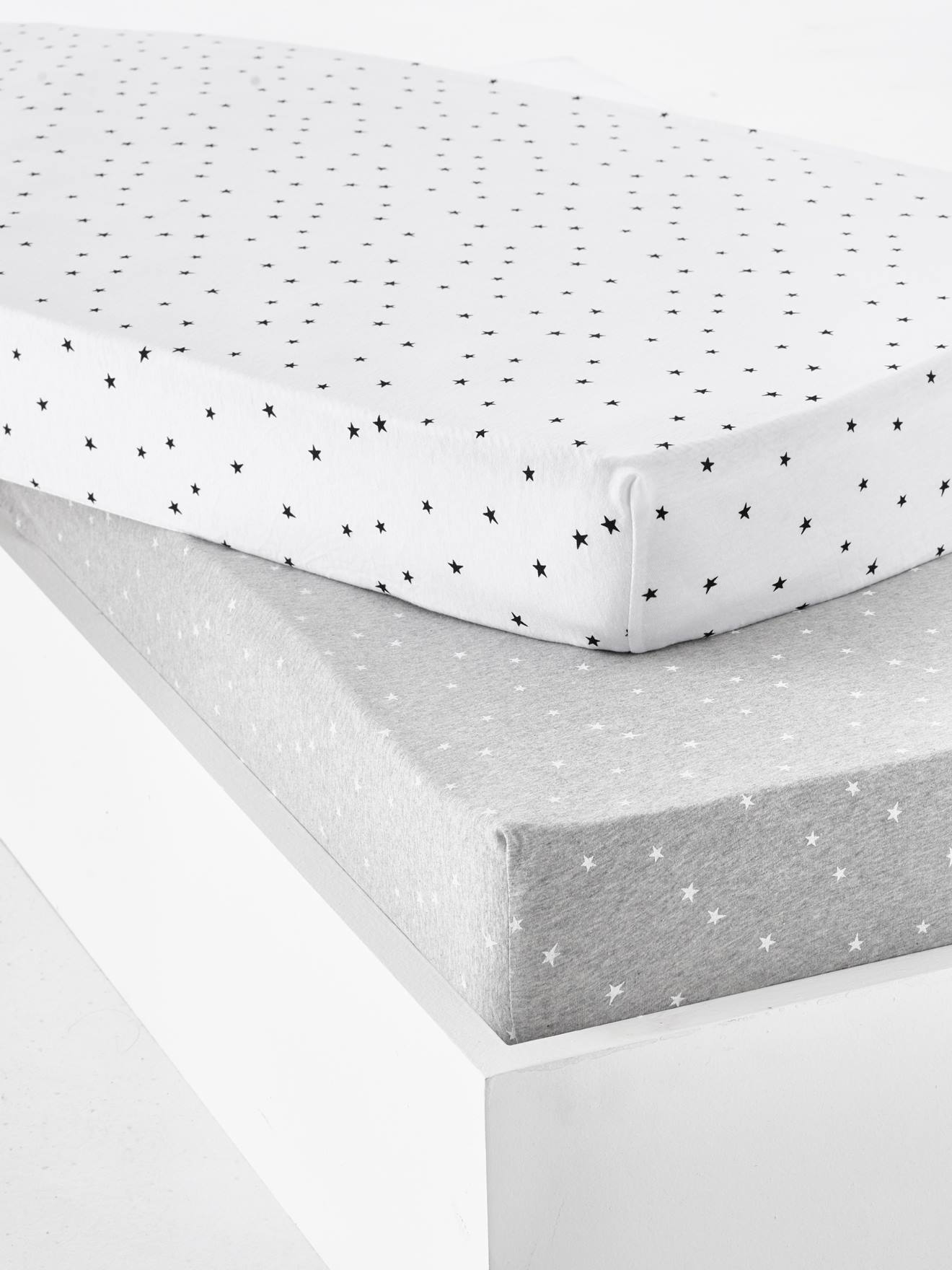 2 x COT BED FITTED SHEET COVER white grey stars 60x120 cm 70x140 cm PURE COTTON