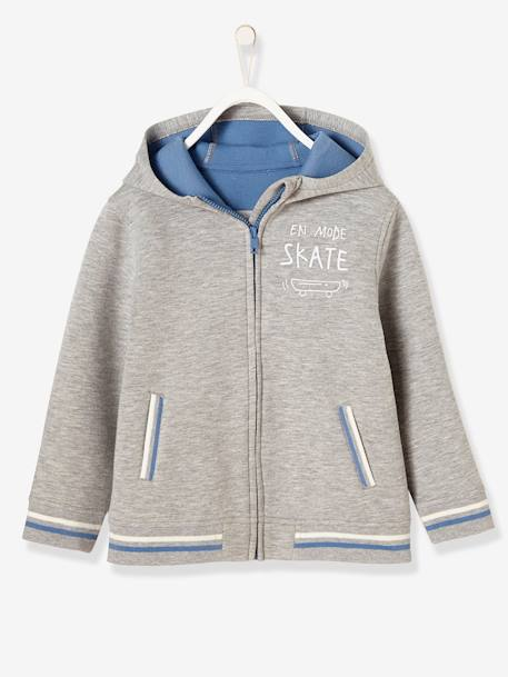 Boys' Jacket with Zip GREY LIGHT MIXED COLOR - vertbaudet enfant