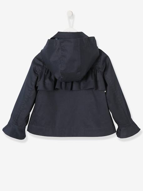 Girls' Parka with Frills BLUE DARK SOLID - vertbaudet enfant