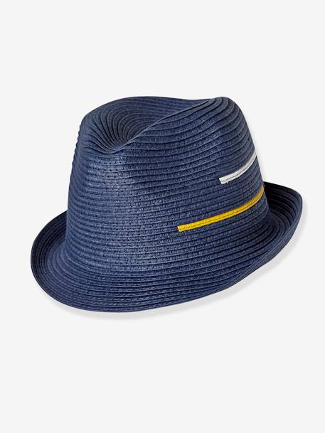 Boys' Occasionwear Hat BLUE DARK SOLID WITH DESIGN - vertbaudet enfant