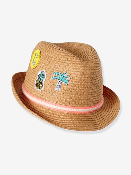 Children's Panama-Style Hat with Badges BEIGE MEDIUM SOLID WITH DECOR - vertbaudet enfant