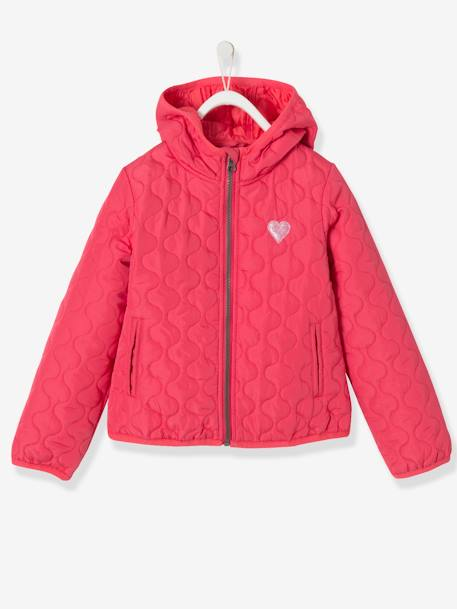 Girls' Lightweight Jacket GREY MEDIUM SOLID WITH DESIGN+RED LIGHT SOLID WITH DESIGN - vertbaudet enfant