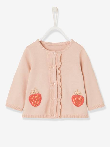 Baby Girls' Cardigan with Pockets, Strawberry Motif PINK LIGHT SOLID WITH DESIGN - vertbaudet enfant