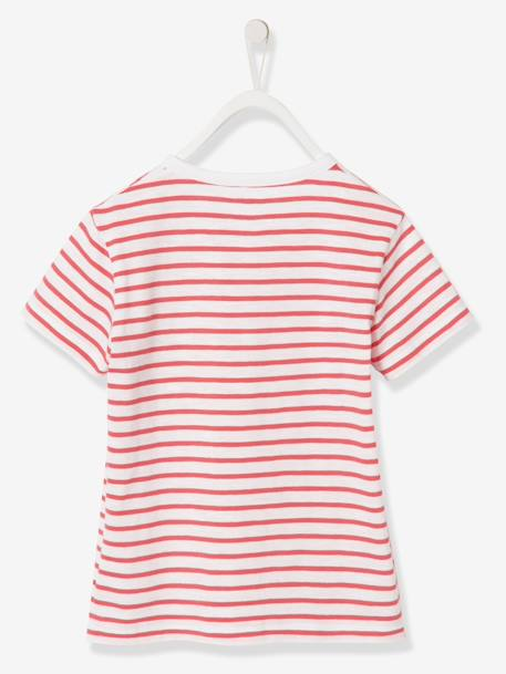 Boys' Striped T-Shirt BLUE DARK STRIPED+ORANGE BRIGHT STRIPED - vertbaudet enfant