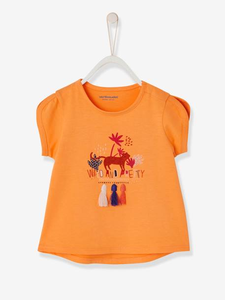 Baby Girls' Top with Pompom and Motif ORANGE MEDIUM SOLID WITH DESIG+WHITE LIGHT SOLID WITH DESIGN - vertbaudet enfant