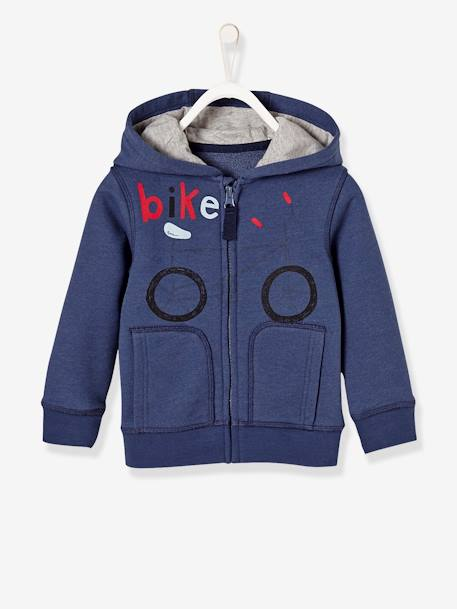 Boys' Jacket with Zip and Hood BLUE DARK SOLID WITH DESIGN+GREY LIGHT MIXED COLOR+RED BRIGHT SOLID WITH DESIG - vertbaudet enfant