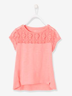 Girls-Tops-Girls Short-Sleeved Lace T-Shirt