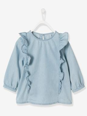 Vertbaudet Collection-Girls-Girls' Lightweight Denim Blouse