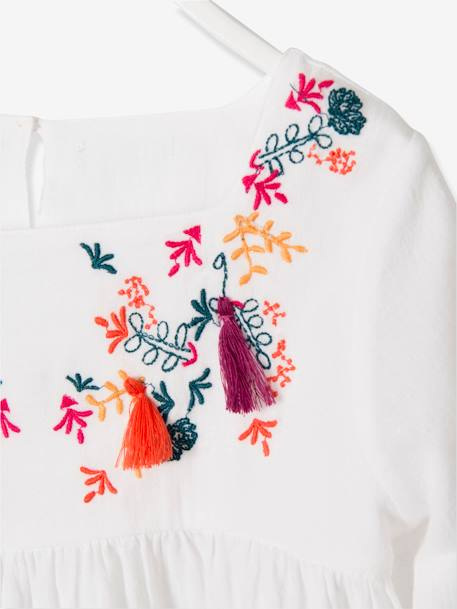 Girls' Embroidered Blouse with Tassels WHITE LIGHT SOLID WITH DESIGN - vertbaudet enfant