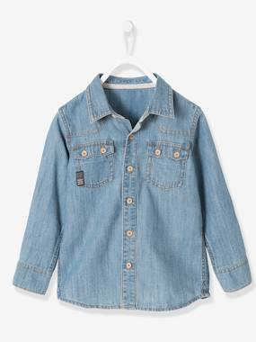 ciao fabio boy-Boys' Faded-Effect Denim Shirt