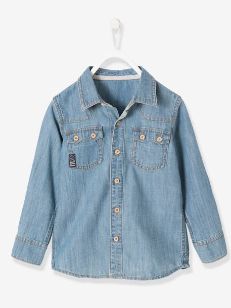 Boys' Faded-Effect Denim Shirt BLUE DARK WASCHED - vertbaudet enfant