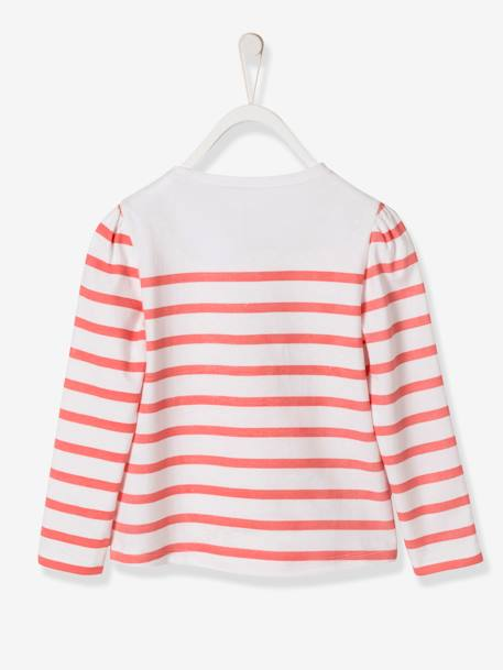 Girls' Printed Navy-style Top BLUE MEDIUM STRIPED+PINK LIGHT STRIPED - vertbaudet enfant