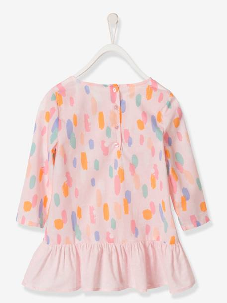 Girls' Blouse with a Mix of Prints PINK LIGHT ALL OVER PRINTED - vertbaudet enfant