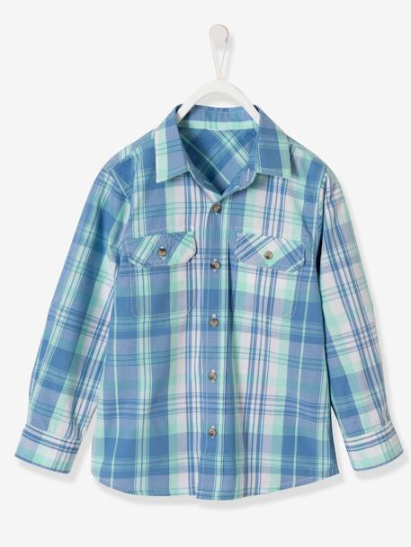 Boys' Checked Shirt GRENN LIGHT CHECKS - vertbaudet enfant