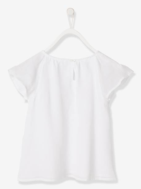 Girls' Pretty Blouse ORANGE BRIGHT SOLID WITH DESIG+WHITE LIGHT SOLID WITH DESIGN - vertbaudet enfant