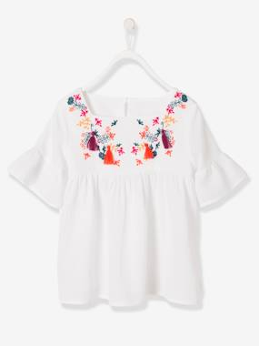 Girls-Blouses, Shirts & Tunics-Girls' Embroidered Blouse with Tassels