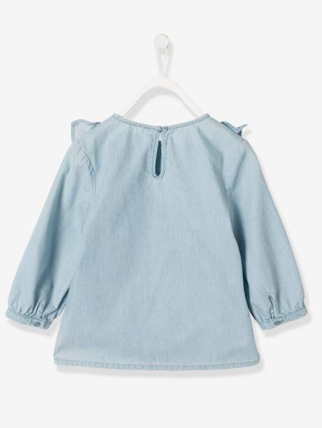 Girls' Lightweight Denim Blouse BLUE LIGHT WASCHED - vertbaudet enfant