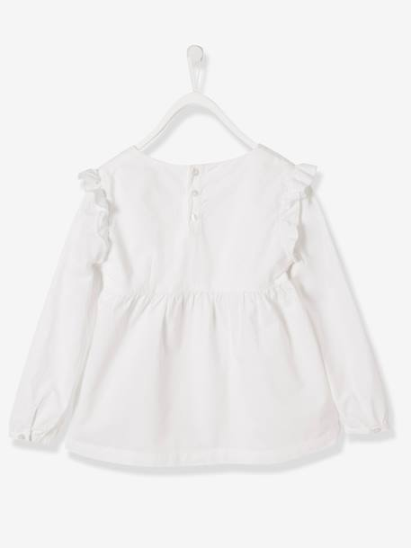 Girls' Blouse in Broderie Anglaise WHITE LIGHT SOLID - vertbaudet enfant