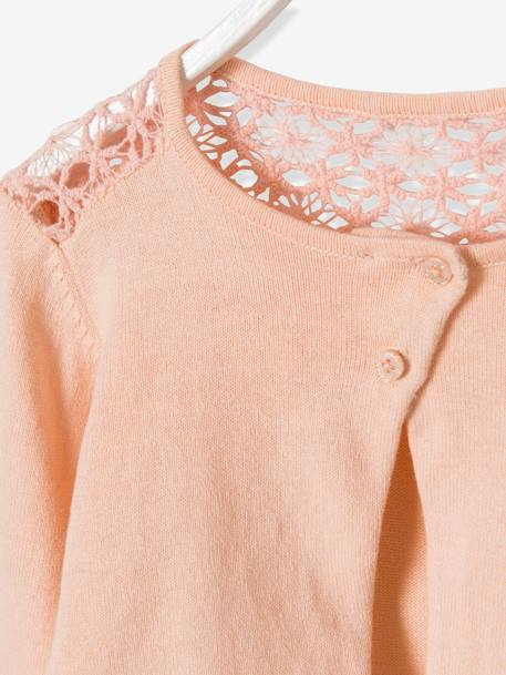 Girls' Lace Cardigan BEIGE MEDIUM SOLID+Black+PINK LIGHT SOLID - vertbaudet enfant