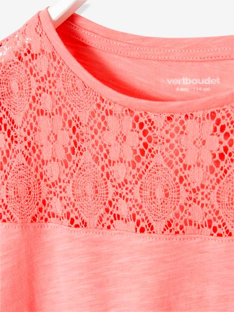Girls Short-Sleeved Lace T-Shirt Ecru+PINK LIGHT SOLID WITH DESIGN+PURPLE MEDIUM SOLID WITH DESIG+YELLOW LIGHT SOLID WITH DESIGN - vertbaudet enfant