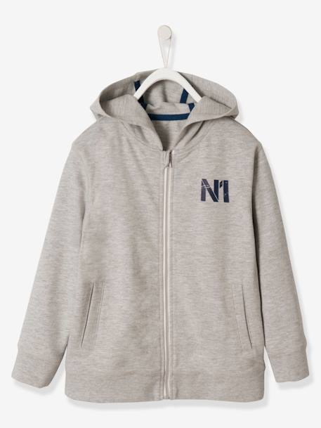 Boys' Jacket with Zip and Hood BLUE MEDIUM SOLID+GREY LIGHT MIXED COLOR - vertbaudet enfant