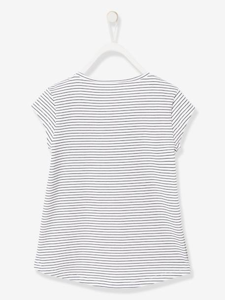 Girls' T-Shirt with Stripes, Print and Sequins WHITE LIGHT STRIPED - vertbaudet enfant