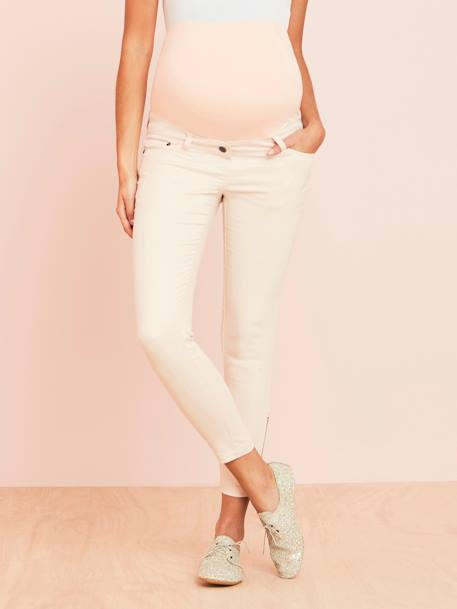 Slim Fit 7/8 Maternity Trousers with Zip, Inside Leg 30' BEIGE LIGHT SOLID - vertbaudet enfant