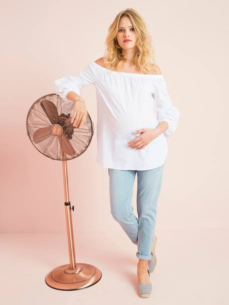 Maternity Off-the-Shoulder Blouse WHITE LIGHT SOLID - vertbaudet enfant