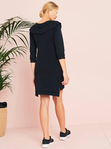 Maternity Sweatshirt Dress, in Fleece BLACK DARK SOLID - vertbaudet enfant